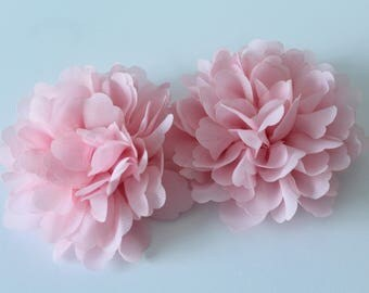 Pink Chiffon Fabric Flower   FLW-14  NO CLIPS