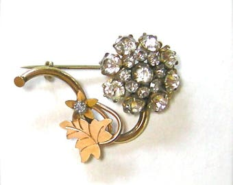 Antique Victorian Flower Brooch Pin Gold & Brass with Crystal Brilliants  Late 1800's