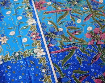 100% cotton Indonesian batik sarong/fabric.   Blue in colour  2 metres in length.   Kissana Devi Super Lebar Batik Halus, special Panjang