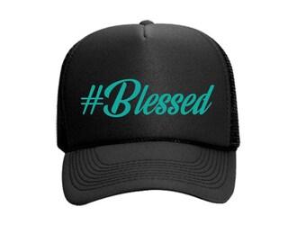 Blessed #Blessed Custom Vinyl Black Foam Trucker Mesh Back Hat Snapback