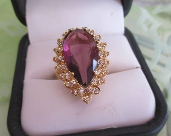 Vintage Large 18K HGE Gold Faux Amethyst Glass and Rhinestone Ring, Size 5 1/2, Vintage Cocktail Ring, February Birthstone, Gift For Her