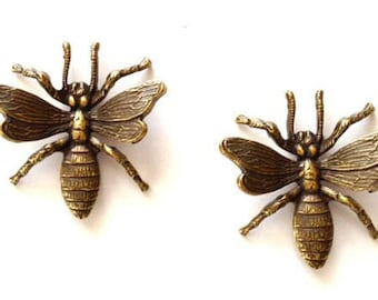 2 Antique Brass Ox  Bugs, Bug Stampings