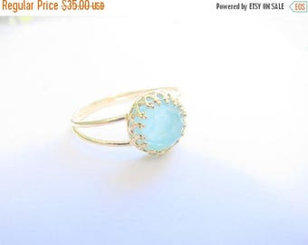 SALE - Opal gold ring - gold ring with opal stone - gold ring - stackable ring - vintage turquoise ring - bridal jewelry - pacific opal ring