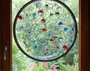Big Circle Suncatcher, YANG, Spiral, Contemporary Abstract Glass Panels, window, Blue, Green, Yellow, Red, 24,80 inch diameter.