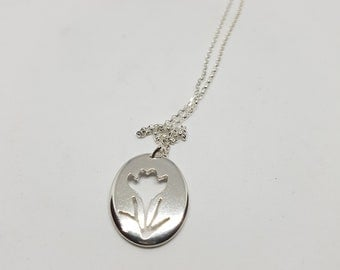 Crocus Flower Necklace, Sterling Silver Pendant, Spring Jewellery