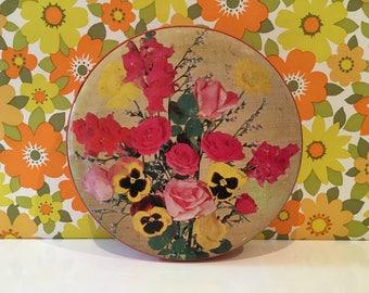 Vintage Sharps Floral Tin Pansies