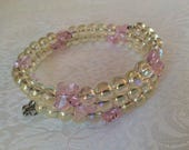 Gold Glass and pink Crystal Butterflies Beaded Bracelet