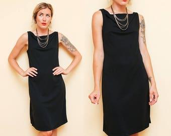 Black Draped Neck Dress // Cowl Neck Dress // 90s Express Loose Neckline Sleeveless Tank Top Mini Dress Size Small 9 10