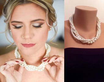 Pearl Necklace, White Ivory Classy Style Necklace, Bridesmaid Jewelry, Jewelry for Brides, Classy Jewelry, Bridesmaid Necklace, Gift for Her