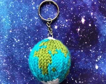 Knitted Globe Key Ring