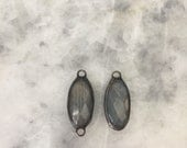New! Soldered Labradorite Stone. Elongated Pendant, Or Connector. Pewter Wrapped, Handmade, Lead Free.