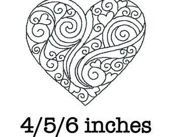 Free motion quilting block heart spirals machine embroidery design redwork 4/5/6 inch instant download
