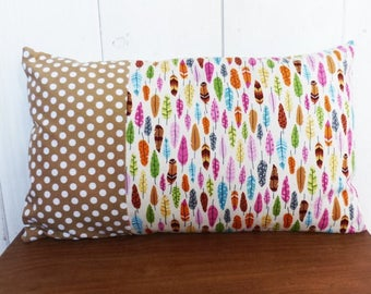 Cushion cover 50 x 30 cm feathers and polka dot pattern fabric