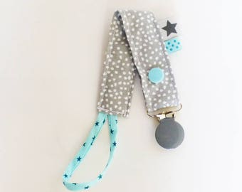 Pacifier clip-grey polka dot pattern fabric / white / mint