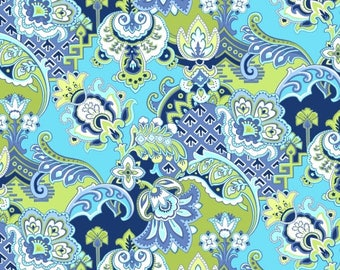 SALE/End of Bolt/1-1/4 Yards/Windham/Designer Fabric/Modern Quilting/Aqua, Blue and Lime Green/Quilting, Clothing, Craft/Yardage