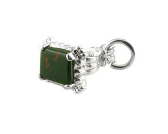 Sterling Silver & Bloodstone Seal Fob  Charm For Bracelets