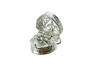 Sterling Silver Opening Ring In Heart Box Charm For Bracelets