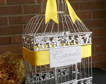 Bird Cage Wedding Money Holder, Silver Birdcage Card Holder, Bridal Supplies, Silver Wedding Anniversary, Personalized Wedding Supplies