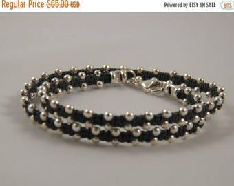 "Summer Sale 40% Sterling Silver Wrap Bracelet - PICK Your COLOR - ""Silver Lining"" DOUBLE Wrap Bracelet on Irish Linen Cord - Sterling Silver"