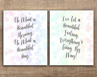 Beautiful Morning! Inspirational Song Lyrics | Movie Song Lyrics | Bokehs Background | DIY Printable Wall Hangings | PNG Wall Art Printables