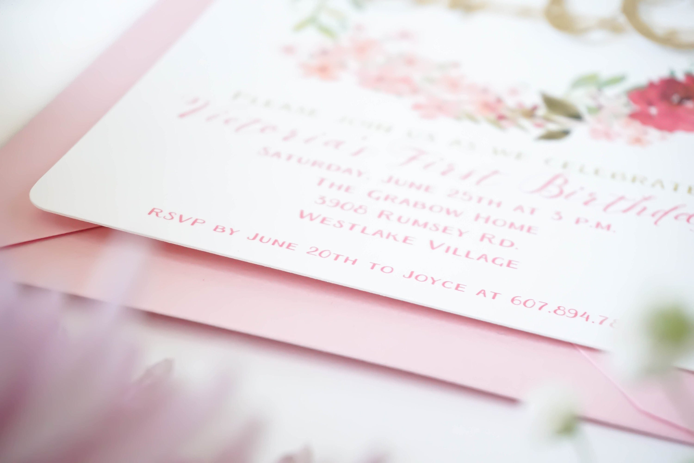 Floral first birthday invitation, Girl first birthday invitation ...