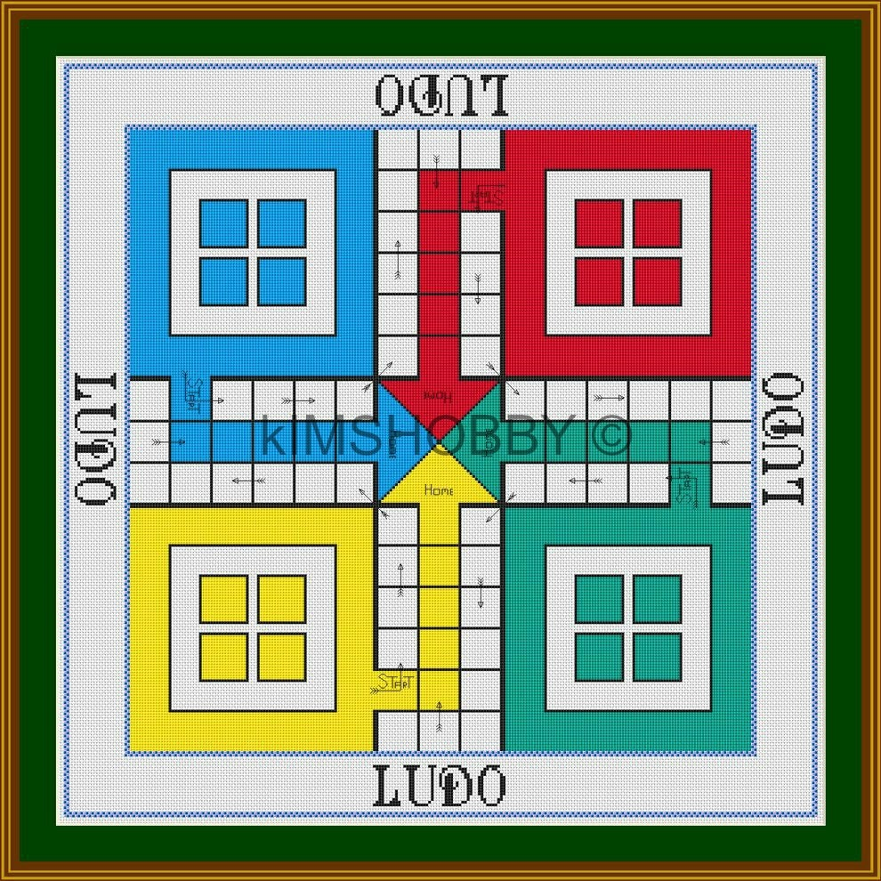 This ludo board is a 14 count cross stitch pdf patternchart for dmc this is a digital file geenschuldenfo Images