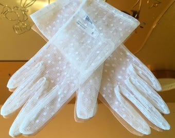 Vintage 90's Dents tulle dotted gloves burlesque