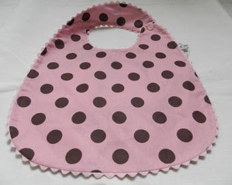 Cotton bib with pink dots, reversible large blue flowers 0/3 years