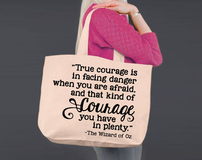 True Courage | Wizard of Oz | Tote Bag | Canvas Tote Bag | Beach Tote | Canvas Tote | Shopping Tote | Korena Loves