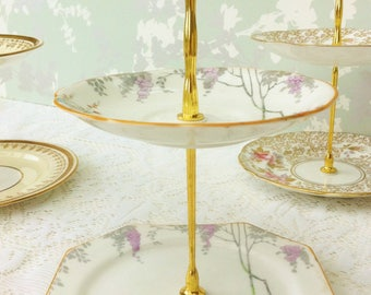 Merrivale Hand Painted  2 Tier Mini Cake Stand