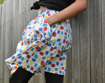 Cute retro skirt 80's day geometric patterned pocketed floral mod white red yellow blue summer beach casual short skirt