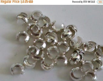 SAVE 20% SAT & SUN 20 pieces 3mm Sterling Silver Crimp Covers Made In Usa