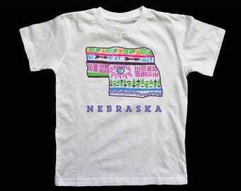 Nebraska State Tee with Words