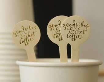 good vibes and hot coffee drink stirrers in Gold foil