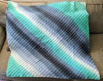 aqua and grey corner to corner baby blanket