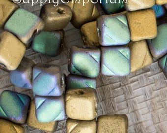 Czech 6mm Glittery Matter Amber Silky Bead - 40 Beads, Glittery Matte Amber Silky 2 Hole Beads, 4915