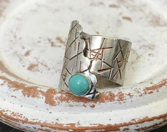 Sterling Silver Turquoise Adjustable Ringq