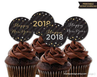 New Years Cupcake Toppers New Years Favor Tags New Years Decor New Years Party Gift Tags Confetti Black Gold Silver New Years Toppers Tags