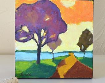 Small Modern oil painting on canvas  | Abstract landscape painting | Under 100 | Purple orange | Fall colors | Square | Garima Parakh