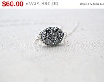 CIJ SALE** silvermine... silver druzy necklace / silver oval druzy quartz & sterling silver / drusy