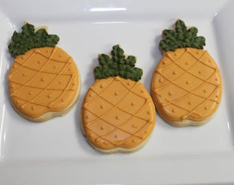 PINEAPPLE 1 Dozen (12) Decorated Sugar Cookies