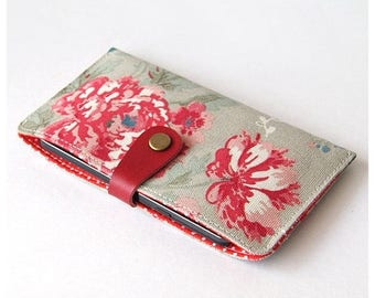 SALE 20% Red Vintage Floral iPhone 7 Case, iPhone 7 Plus Sleeve, iPhone 6 case, Samsung Galaxy Phone Wallet, Padded Phone Case
