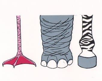 Animal Feet Linoprint