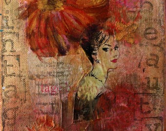 Vintage Beauty Mixed Media Original Art Painting Canvas Small Pink Purple Face Woman Gift Vintage Paper Fiber Acrylic Fashion Flowers