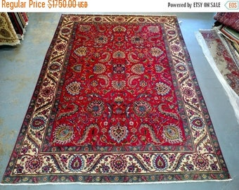 SUMMER CLEARANCE Persian Rug - 1980s Hand-Knotted Tabriz Rug (1294)