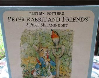 Peter Rabbit and Friends 3 Piece Melamine Set Beatrix Potter by Eden 1991 New