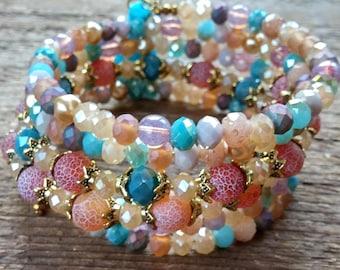 Wrap Bracelet, Beaded Bracelet, Crystal Bracelet, Memory Bracelet, Tassel Bracelet, Bohemian Jewelry