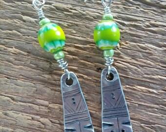 Boho Earrings, Tribal Earrings, Green Earrings, Dangle Earrings, Beaded Earrings, Silver Earrings, Trade Bead Earrings, Bohemian Jewelry