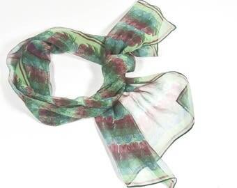 Vera Silk Chiffon Sheer Rectangular Scarf - Vintage Vera Neumann Scarves by Vera Silk Scarf