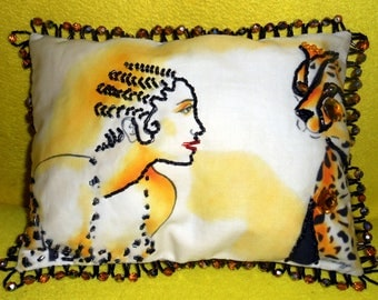 BEADED PORTRAIT PILLOW 7x9, Josephine Baker w Leopard, My Orig. Painting Printed on Fabric, Beaded/Jeweled Tiny Accent Pillow, Free Shipping